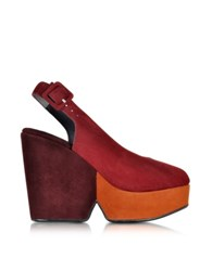 Robert Clergerie Dylanal Color Block Suede Wedge Sandal Multicolor