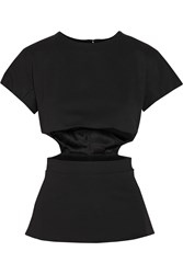 Cushnie Et Ochs Oscar Cutout Stretch Jersey Peplum Top Black