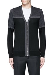 Neil Barrett Shoulder Panel Merino Wool Zip Cardigan Black