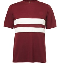 Iffley Road Cambrian Striped Dri Release Running T Shirt Burgundy