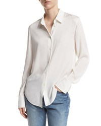 Vince Slim Fit Stretch Silk Blouse White