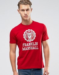 Franklin And Marshall Large Logo T Shirt Scarlet Red