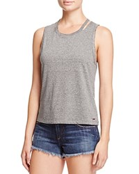 N Philanthropy Ninas Cutout Crop Muscle Tank Heather Grey