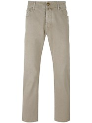 Jacob Cohen Straight Leg Trousers Nude And Neutrals