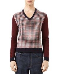 Gucci Houndstooth Wool Cashmere Sweater Purple