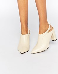 Truffle Collection Mona Sling Point Heeled Shoes Cream Pu