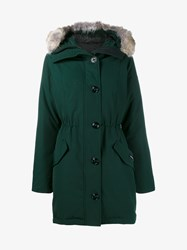 Canada Goose Rossclair Parka With Coyote Fur Trimmed Hood Green White Denim