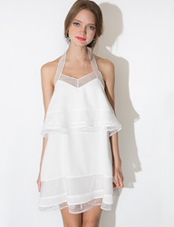 Pixie Market J.O.A White Organza Tiered Dress