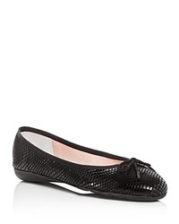 Paul Mayer Embossed Suede Ballet Flats Black