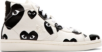 Comme Des Garcons White And Black Heart Print Converse Pro Edition Sneakers