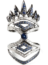 Nikos Koulis Diamond And Sapphire Pave Ring Metallic