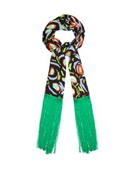 Duro Olowu Abstract Bird Print Fringed Scarf Black Multi