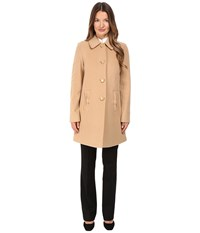 Kate Spade 4 Button A Line Single Breasted Coat W Bow Pockets Camel Women's Coat Tan
