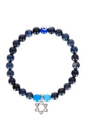Jean Claude Sterling Silver Star Of David Charm Dumortierite And Blue Agate Bead Bracelet Beige