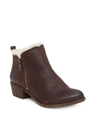 Lucky Brand Basel Leather And Faux Shearling Ankle Boots Java