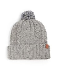 Bickley And Mitchell Donegal Lambswool Pom Pom Beanie Grey