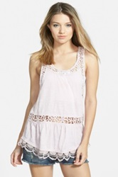 Sun And Shadow Lace Inset Racerback Tank Juniors Pink