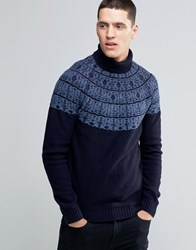 Pretty Green Jumper With Roll Neck And Nordic Pattern In Slim Fit Black Navy