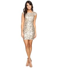 Aidan Mattox Cap Sleeve Stretch Sequin Sheath Metallic Gold Women's Dress