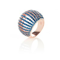 Latelita London Comb Ring Rosegold Sapphire Zircon Blue Rose Gold