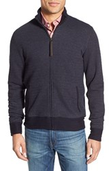 Men's Billy Reid Jacquard Knit Zip Track Jacket Navy Mele