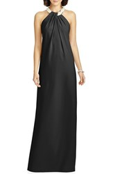 Dessy Collection Women's Beaded Halter Neck Crepe Gown Black