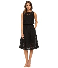 Donna Morgan Sleeveless Two Piece Embroidered Organze With Midi Skirt Black Women's Dress