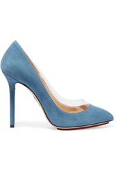 Charlotte Olympia Party Monroe Suede And Pvc Pumps Blue