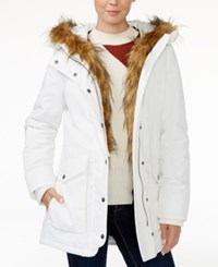 Levi's Faux Fur Trim Hooded Parka White