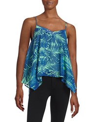 Design Lab Lord And Taylor Printed Asymmetrical Tank Top Navy Mint
