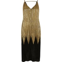 River Island Womens Black And Gold Pleated Midi Dress