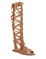 Sigerson Morrison Bright Leather Gladiator Sandals Brown