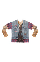 Faux Real 'Jean Jacket Tattoo' Novelty Graphic T Shirt Men Blue