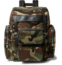 Saint Laurent Leather Trimmed Camouflage Print Canvas Backpack Green