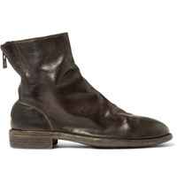 Guidi Distressed Leather Boots Chocolate