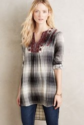 Anthropologie Embroidered Flannel Tunic Grey Motif