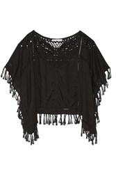 Chelsea Flower Molly Fringed Broderie Anglaise Voile Top Black