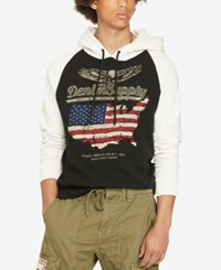 Denim And Supply Ralph Lauren Men's Graphic Print French Terry Hoodie Black