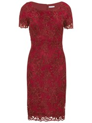Gina Bacconi Embroidered Oriental Floral Dress Wine