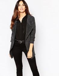 Wal G Cardigan With Wrap Front And Pocket Detail Grey