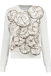 Jonathan Saunders Hazel Appliqued Cotton Gauze And Merino Wool Sweater White