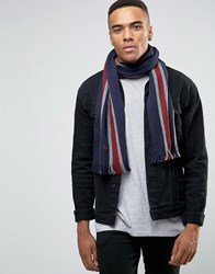 Fred Perry Striped Scarf In Lambswool Navy