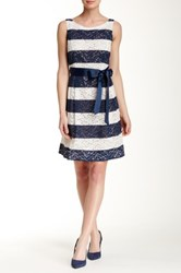 Robbie Bee Striped Lace Dress Multi