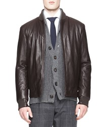 Brunello Cucinelli Leather Thermore Bomber Jacket Brown