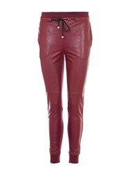 Relish Faux Leather Track Trousers Red