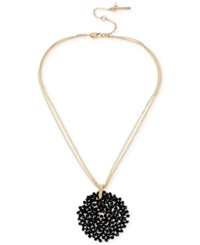 Kenneth Cole New York Jet Woven Faceted Bead Round Pendant Necklace