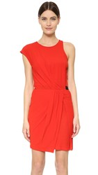 Carven Gather Dress Rouge