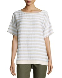 Lafayette 148 New York Camira Striped Tee W Faux Leather Trim White Multi