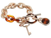 Guess Logo Key And Faux Tortoise Charm Toggle Bracelet Rose Gold Red Tortoise Bracelet