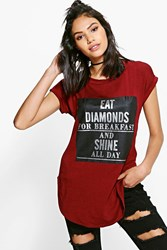Boohoo Diamond Printed Tee Wine